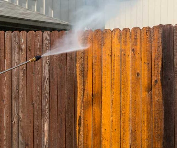 Wooden Fence Power Wash Cleaning